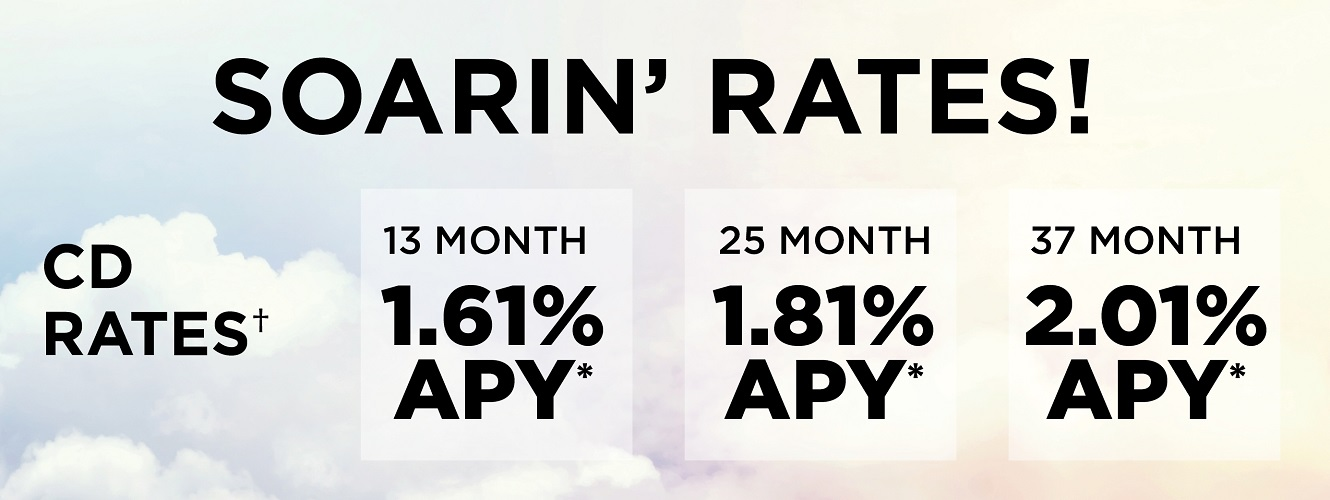 CD Rates - 13 Month 1.61%, 25 Month 1.81%, 37 Month 2.01%