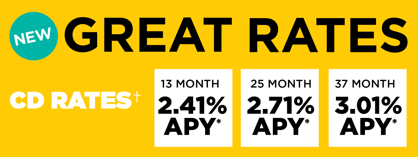 New Great Rates - 13 Mo 2.41% APY, 25 Mo 2.71% APY, 37 Mo 3.01% APY